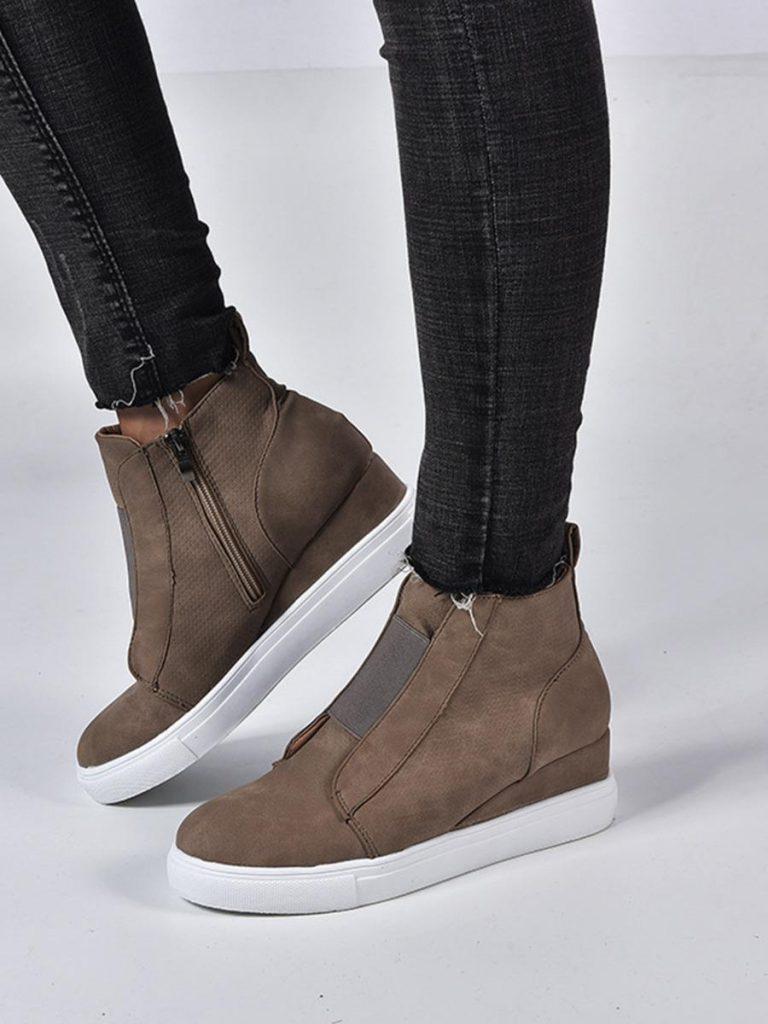shestar wholesale casual zipper trim plain slope boots