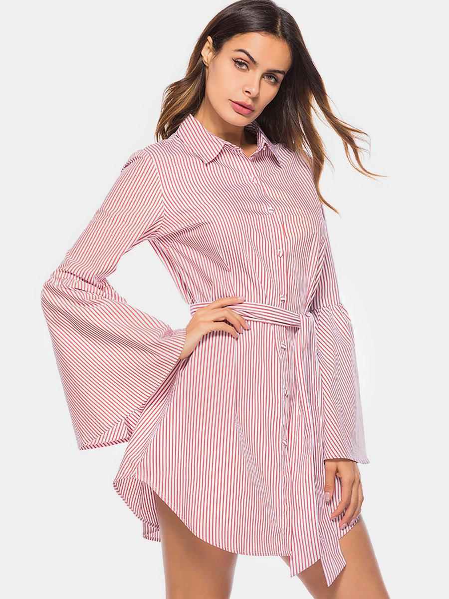shestar wholesale flare sleeve vertical striped shirt dress with belt