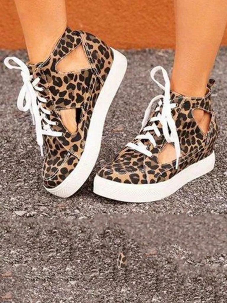 shestar wholesale lace up leopard cutout canvas sandals