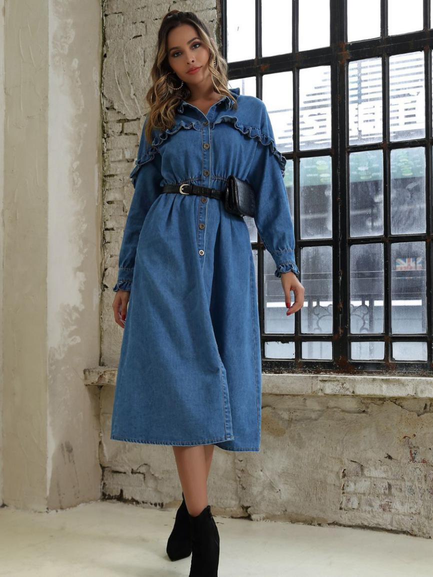 shestar wholesale ruffle trim buttoned split denim dress
