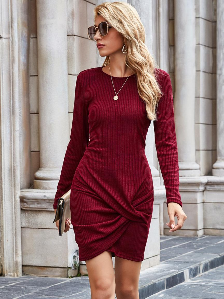 shestar wholesale solid color twist ribbed jersey dress