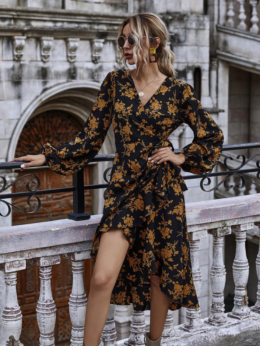 shestar wholesale tie side hi-lo-hem floral dress