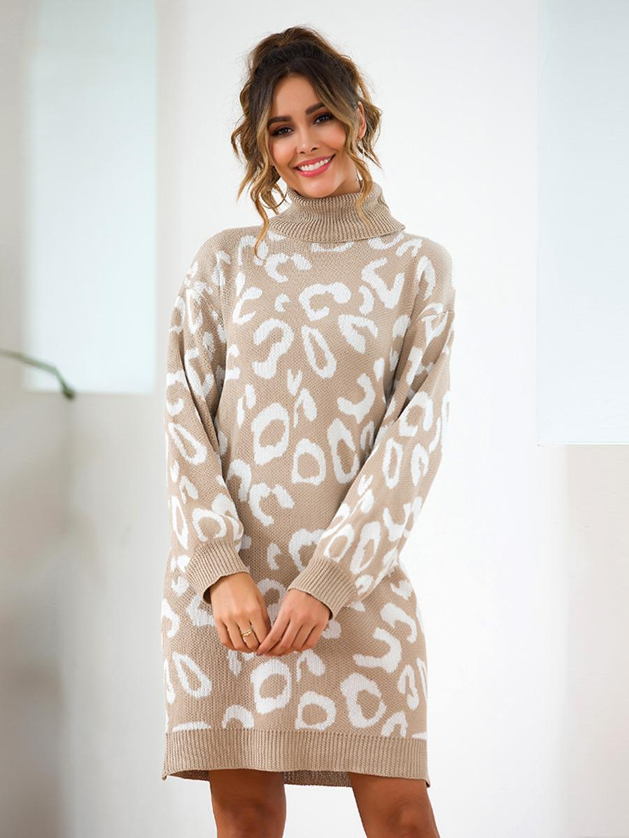 shestar wholesale turtle collar leopard knitting sweater dress