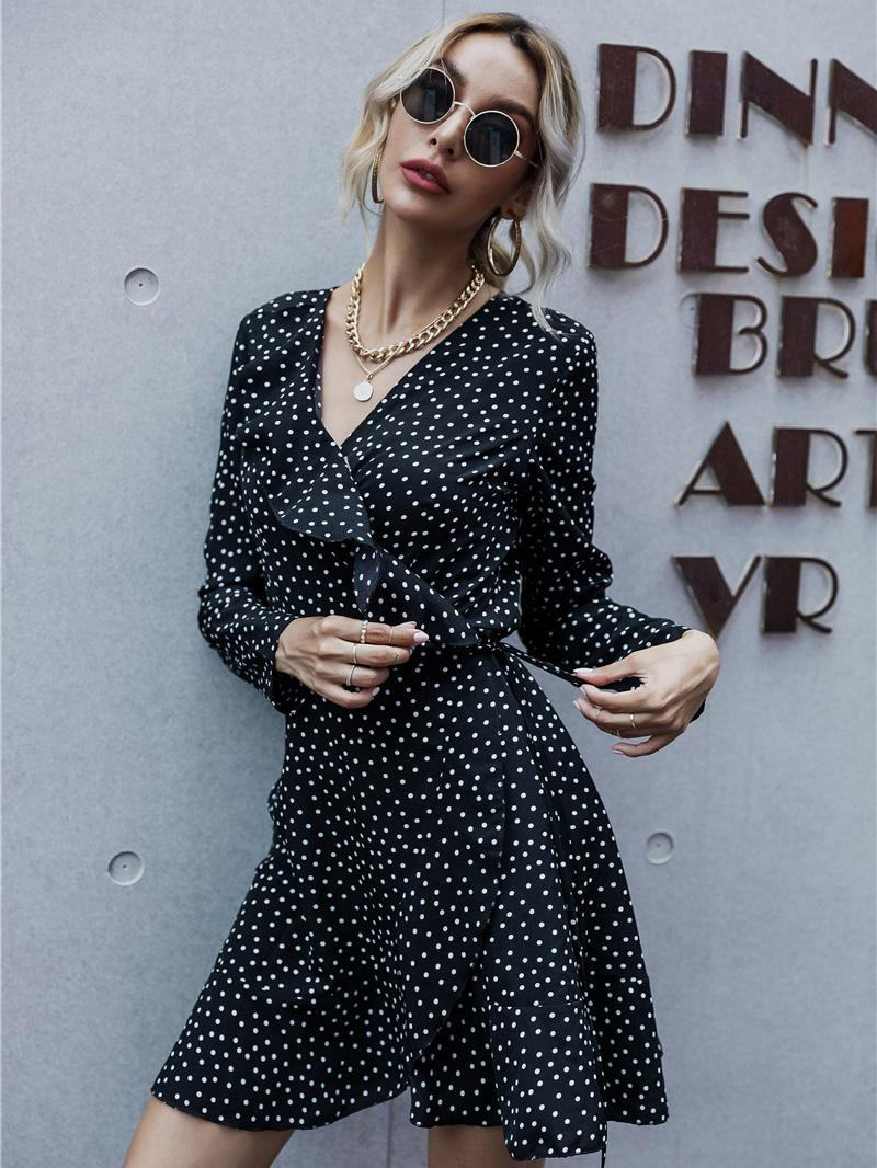 shestar wholesale v-collar ruffle trim polka dot dress