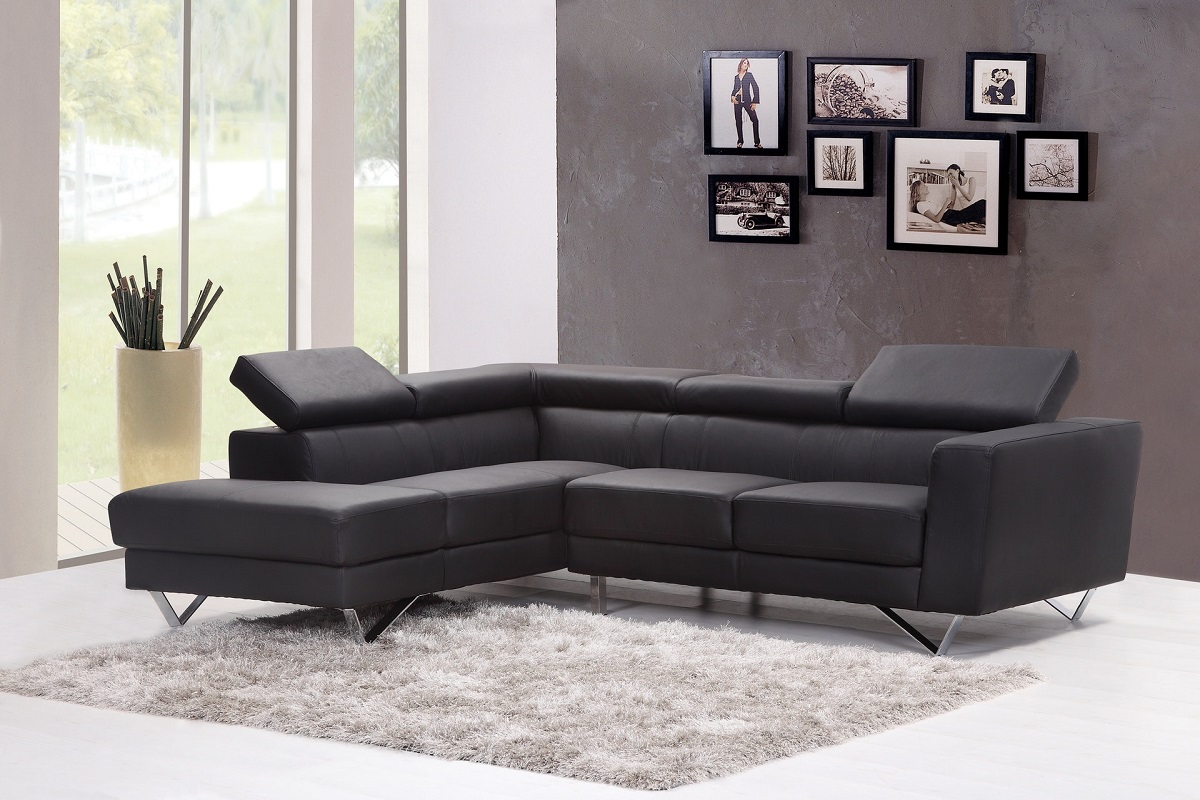 Living room with a black L-shaped sofa, gray carpet, a plant, and wall art