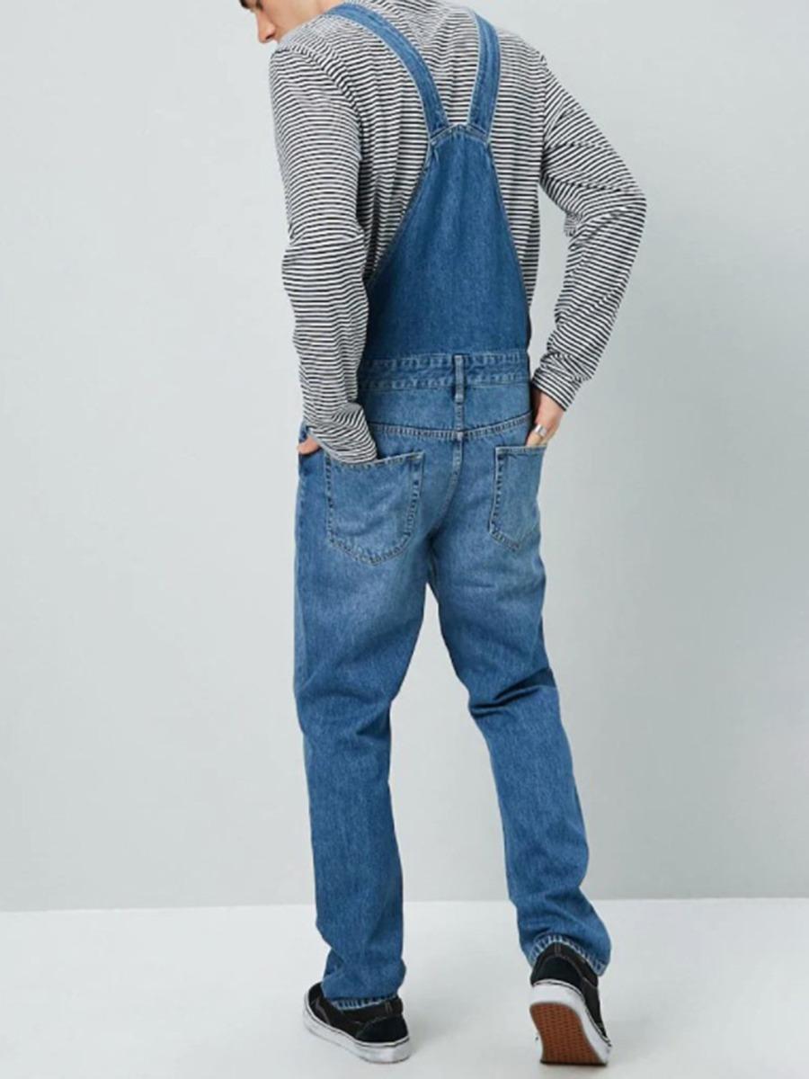 Solid Color Denim Bib Overall Jumpsuit